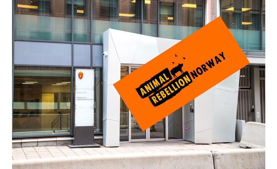 Animal Rebellion har limt seg fast til inngangspartiet i Nærings- og fiskeridepartementet. Fotomontasje: Kyst.no.