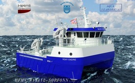 FMV 232 blir en arbeidsbåt med stor kapasitet og fleksibilitet for ulike oppdrag. Illustrasjon:FMV