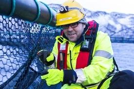 Grieg Seafood Finnmark satser på econett, som tar cirka 3-4 timer og få på plass. Foto: GSF