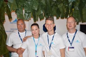 Lars Berg-Hansen med Norse Aqua teamet sitt . Her under Aqua Nor i Trondheim 2015. Foto: Therese Soltveit.