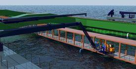 Havfarm-konstruksjonen blir 430 meter lang, og 54 meter bred. Foto: NSK Ship design.