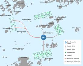 Området i Frøya der Marine Harvest vil bygge opp sitt nye forskningssenter. Illustrasjon: Marine Harvest.