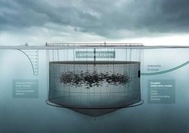 Aqualine Subsea System er ett av konseptene som vil flytte laksen lengre ned i dypet. Illustrasjon: Aqualine.