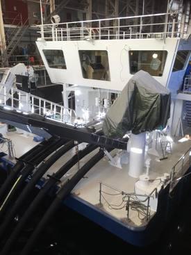 Vaagland Båtbyggeri AS bygger avlusingslektere for datterselskapet Vamar. Lekteren utstyres med Hydrolicer utviklet av Hydrolicer Produksjon. Fartøyet skal leies ut til Salmar, som får sin andre enhet levert neste uke. Foto: VB.