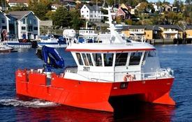 NabCat'en GISLI er produsert av Moen Marin AS for Moen Ship Management AS. Fartøyet er det første servicefartøyet som leies av et utenlandsk selskap. Foto: Tom Lysø/Moen Marin.