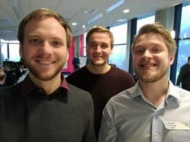 Gründerne Roymond Olsen f.v, Anders Lepperød og Emil Lingfors, her avbildet på Innovasjon Norge kurs. Mangler Richard Olsen og Øystein Follo på bildet. Foto: privat.