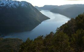 Oversiktsbilde av deler av Masfjorden. Foto: Ivar Helge Matre.