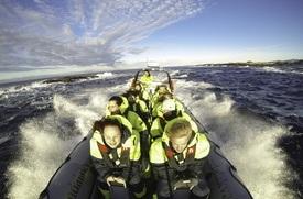 Det er ofte full fres på RIB-turene visningssenteret utfører ut til merdkanten, og de de besøkende får virkelig kost seg med vind i håret ute på sjøen. Foto Bjørøya.