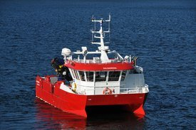 Moen Marin leverer fire identiske NabCat-fartøy til Lerøy Midt. Her ser du HALSAKRONA som ble levert i august. Foto: Moen Marin