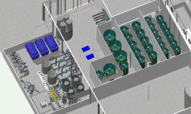 Skisse av anlegget. Avlsavdelingen består av teknisk rom for vannbehandling og tre adskilte soner med kar for rognkjeksen. Kilde: AquaGen.