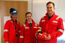 Gry Løkke, Karoline Sjødal Olsen og Lars-Kristian Opstad i Blue Lice på vei til verkstedet på Rosenberg Verft for å lage første prototype. Foto: X2 Labs