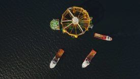 Bird's eye view: the anchoring operation from on high. Photo: Solstad Farstad