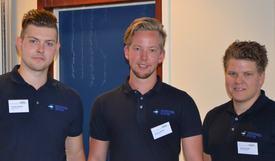 Guttene i Havbruksutstyr er fornøyd med utviklingen i selskapet så lagt. I dag er de fem ansatte i produksjonen. F.v Thomas Leirgulen. Runar Leirgulen og Sindre Kolseth.