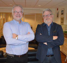 Asle Strønen, redaktør for Skipsrevyen, og Gustav Erik Blaalid, redaktør i Norsk Fiskeoppdrett og kyst.no