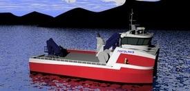 Tegning av den nye typen katamaran som Grovfjord skal bygge for Nordlaks. Foto: Grovfjord Mek. Verksted.