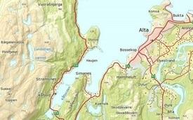 Kart av Kåfjorden i Alta. Foto: Skjermdump.