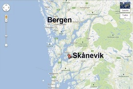 Her ble de tyske tyvfiskerne påkjørt av en oppdrettsbåt fra Alsaker Fjordbruk. Foto: Google Maps