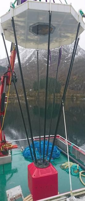 Kuppelen trenger lodd for å holdes nede under vann. Foto: Havforskningsinstituttet.