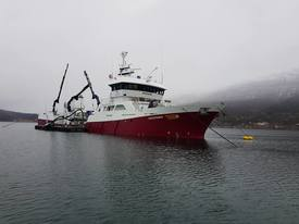 The wellboat Novatrans took care of the transport of 840-grams smolts delivered to Eidsfjord Sjøfarm. Here you see loading at Sisomar. Photo: Sisomar.