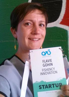 Flavie Gohin fra Fishency Innovation var to dager i Helsinki for å dskutere endringer i havbruksnæringen og promotere automatisk lusetellings-teknologi. Foto: Privat.