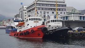 «Vulcanus» og søsterskipet «Skilsø» side om side i Vågen i Bergen Foto: Egil Sunde