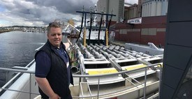 Flasnes is enjoying his work on board the Hydrolicers, where he has now worked for three years. He is pctured here during the Aqua Nor trade fair last year, on the world's largest Hydrolicer unit MS Steyer, operated by Aqua Pharma. Photo: Hydrolicer. Click for larger image.
