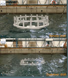 Prueba del modelo de Arctic Offshore Farming, no sumergido (arriba) y lsumergido (abajo). Foto: NRS/Aker.