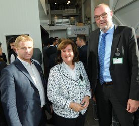From left: Baader Norway chief executive Vidar Breiteig, company owner Petra Baader and Baader chief executive Robert Focke, at the opening.