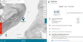 Printscreen fra eksempel som ble brukt fra Barentswatch. Sollund viste funksjonaliteten i tjenesten med bakgrunn av en bekymret fisker som har sett brønnbåt  ved lokaliteten og lurer på om det har blitt behandlet mot lakselus med medikamenter.