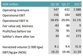 SSF earned less than in Q3 2017 but underlying operations are reported as good. Click to enlarge. Table: SalMar