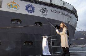 Prinsesse Ingrid Alexandra var gudmor for «Kronprins Haakon» Foto: Gunnar Sætra/Havforskningsinstituttet