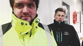 Jørn-Roar Pedersen (TiAlta) og Odd Dagfinn Årsandvik. Foto: Visningssenteret arctic aqua