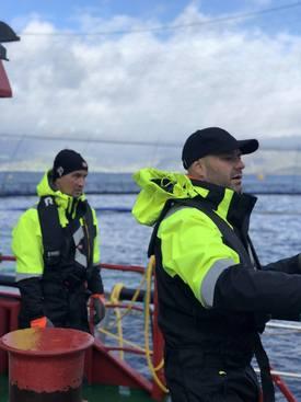 Espen Øvreeide og Trond Marøy er skaperne bak SeaNest, og forteller om økende interesse for rensefiskhabitatet. Klikk for større bilde. Foto: Estro AS.