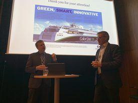 Jan Helge Pile (t.v) og ColorLine kjøper varer og tjenester for 300 millioner kroner årlig. Her fra ERFA-konferansen med konferansier Frode Stang (t.h)