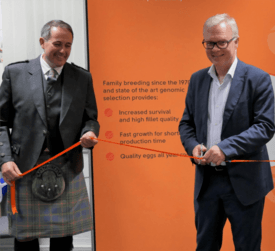 AquaGen Scotland managing director Andy Reeve, left, and Odd Magne Rødseth at the official opening of the Stirling office in November 2017. Photo: FFE.