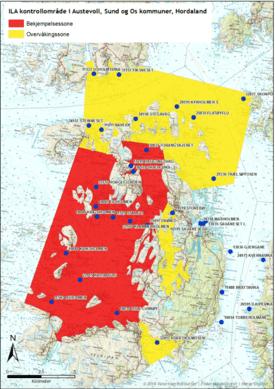 Bekjempelsessone for ila i Austevoll kommune. Klikk for større bilde.