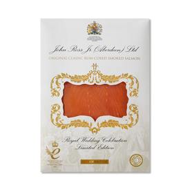 John Ross Jr's Original Rum Cured Smoked Salmon, produced for the last royal wedding. Click on image to enlarge.