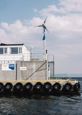 The wind turbine, solar panels and battery bank on the plant allow the company to save about 36,000 litres of diesel a year. Click on image to enlarge. Photo: Tommy Ellingsen.