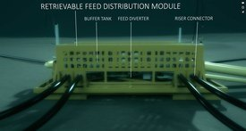 Each group of cages would have a food distribution module supplied by a pipeline from the shore. Click on image to enlarge. Image: Mowi video.