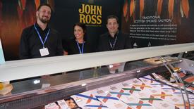 The team from Aberdeen salmon smoker John Ross at their stand in the Scottish Pavilion. Click on image to enlarge. Photo: FFE.