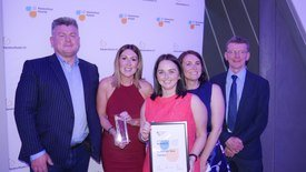 SSF head of human resources Tracy Bryant-Shaw, second from left, and HR team members Emma Leyden, centre, and Clare Scott collect the Diversity prize from Don Fowler, left,, and Robin Shields of SAIC, which sponsored the category. Click on image to enlarge. Photo: FFE.