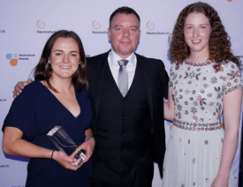 Most Promising New Entrant winner Clara McGhee, left, a farm technician at Mowi's Muck site, with Mowi Scotland managing director Ben Hadfield and the company's Loch Alsh site manager Hendal Hunter, who was also nominated. Click on image to enlarge. Photo: FFE.