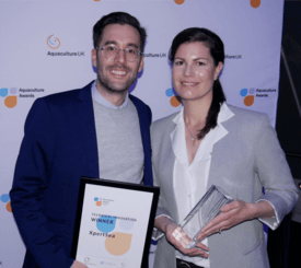 XpertSea chief revenue officer Mikael Lefebvre and co-founder and chief executive Valérie Robitaille with their award. Click on image to enlarge. Photo: FFE.