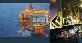 Bildene viser skadene etter sammenstøtet. Foto: Equinor
