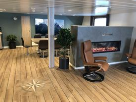 The lounge area of the Ronja Explorer, the first of three identical AAS 2502 ST-class wellboats ordered by Sølvtrans. The second will go into service for SSC. Click on image to enlarge. Photo: Aas.