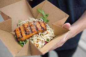A salmon noodle salad from the van. Photo: Mowi.