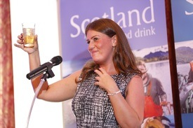 Raising a glass to Scottish seafood: Natalie Bell in Japan in 2016. Click on image to enlarge. Photo: Seafood Scotland.