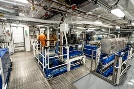 I maskinrommet er fartøyet utstyrt med B33:45L8, 4800 kW fra Bergen Engines Foto: Økland Foto