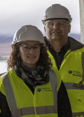 Hatchery operations manager Noelia Rodriguez and freshwater manager Pål Tangvik pictured during the construction phase. Photo: SSF.