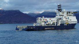 Under slepeprøver i fjor haust oppnådde skipet ei trekkraft på 477 tonn. Foto: Droneinfo
